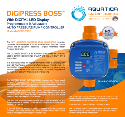DIGITAL Programmable & Adjustable AUTO PRESS CONTROLLER The DiGiPRESS BOSS #AQ-SKD2300 with DIGITAL LED Display