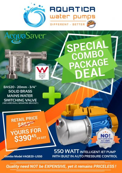Aquatica 550 Watt Jet Venturi Pump and Acquasaver BAS20 package deal