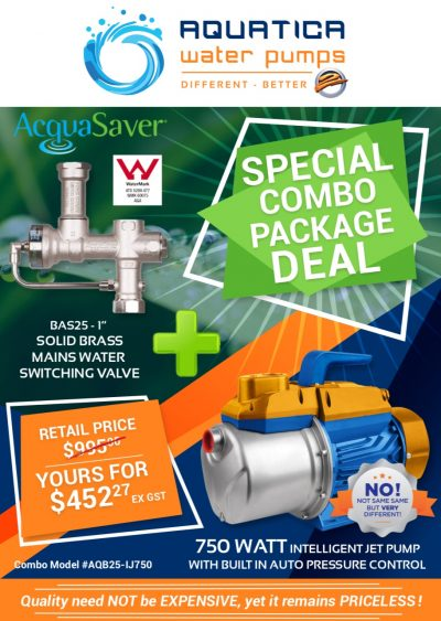 Aquatica 750 Watt Jet Venturi Pump and Acquasaver BAS25 package deal