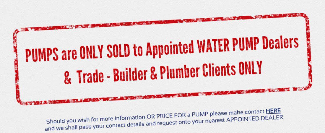 WHOLESALE WATER PUMPS ONLY